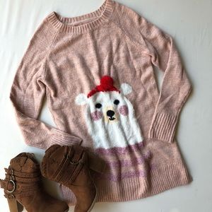 LC Lauren Conrad sweater polar bear Pom Pom XS